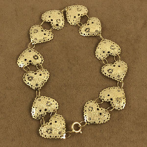 Hearts & Flowers Vintage 14K Gold Heart Bracelet